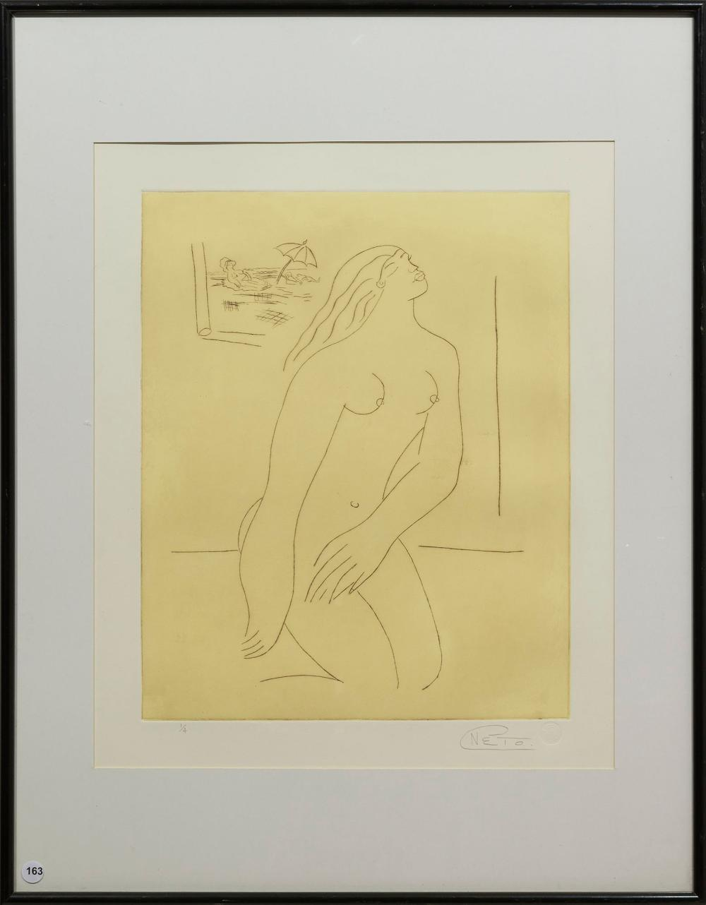Carlos Neto (SA, born 1955) Etching, Nude, Signed & Numbered 1/4 in Pencil, 55 x 46 sheet size