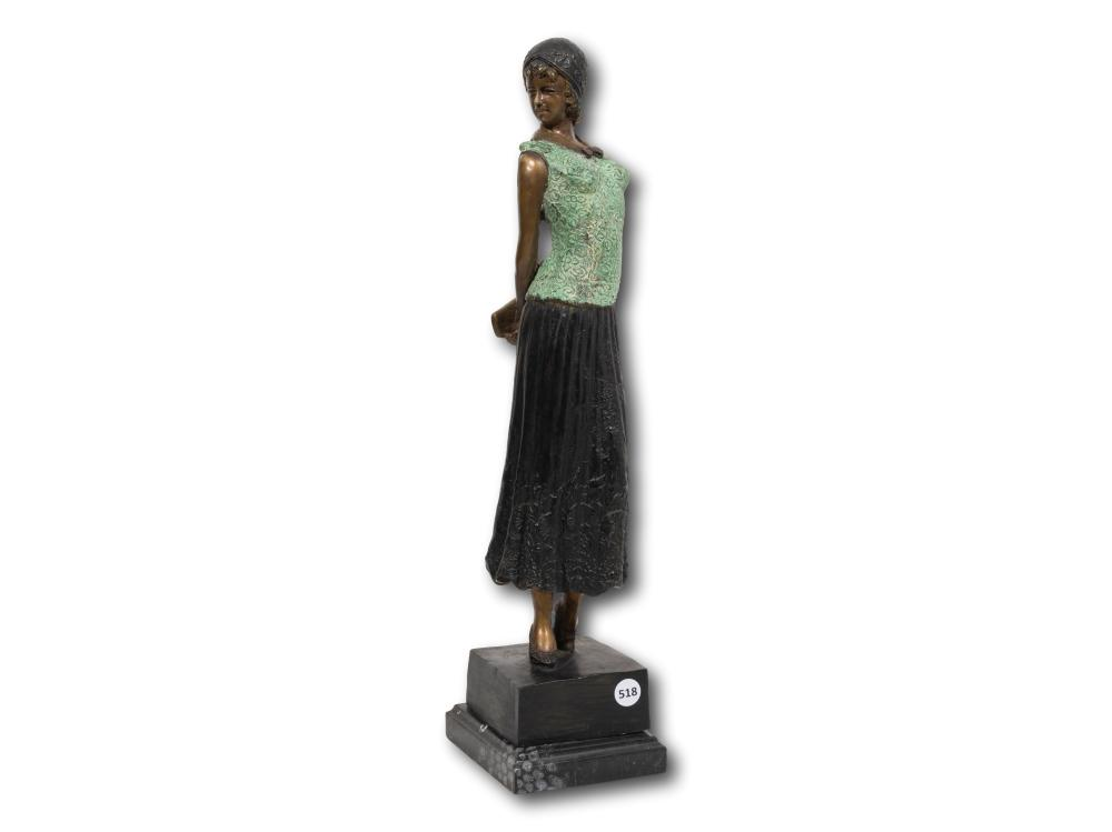 After Dimitri H. Chiparus (Romanian 1886 - 1947) Bronze, Lady Carrying a Purse, 51cm Including Base