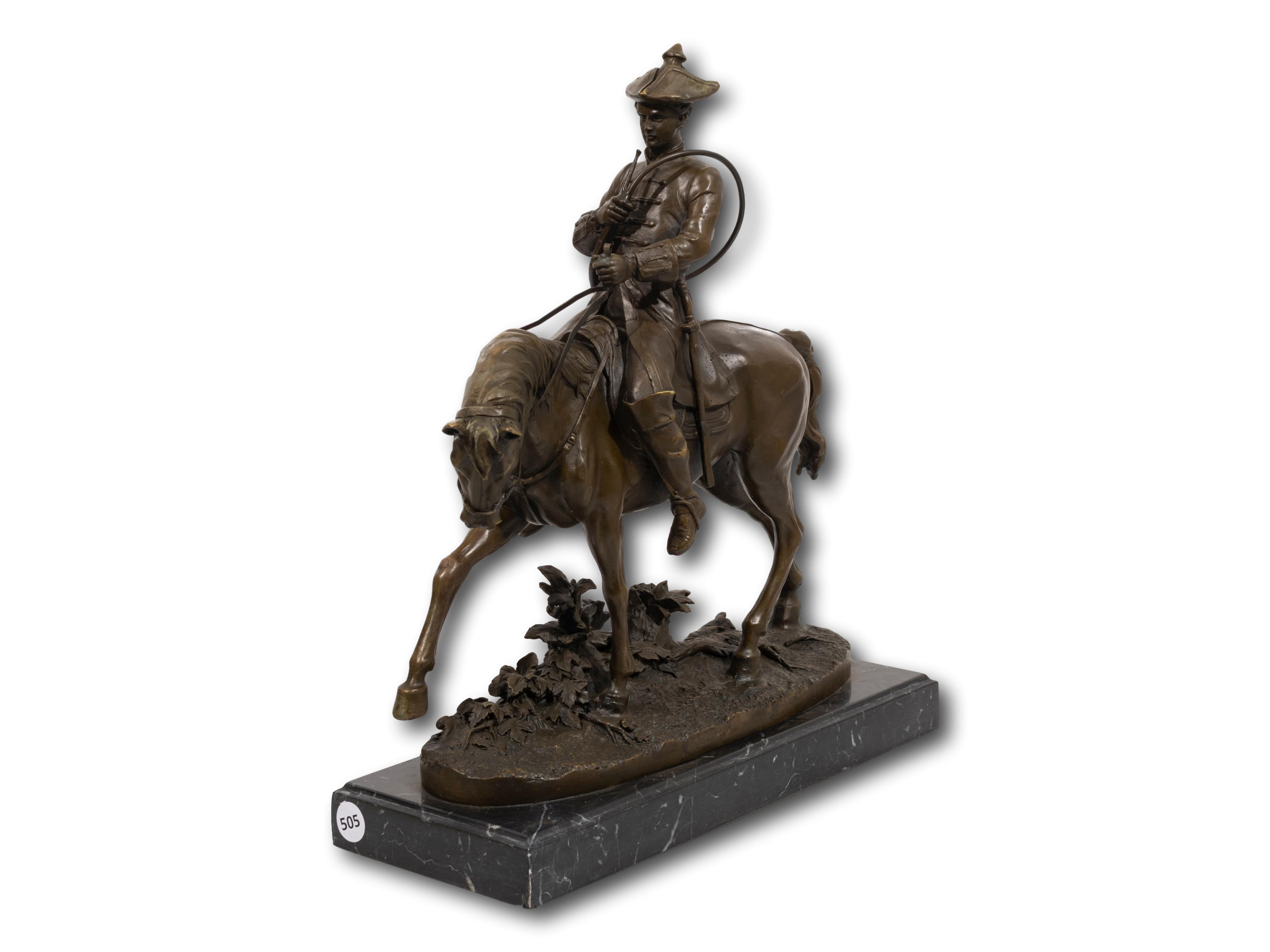 After Pierre Jules Mene (French 1810 - 1879) Bronze, Mounted French Huntsman with Horn, Signed, 39cm including base