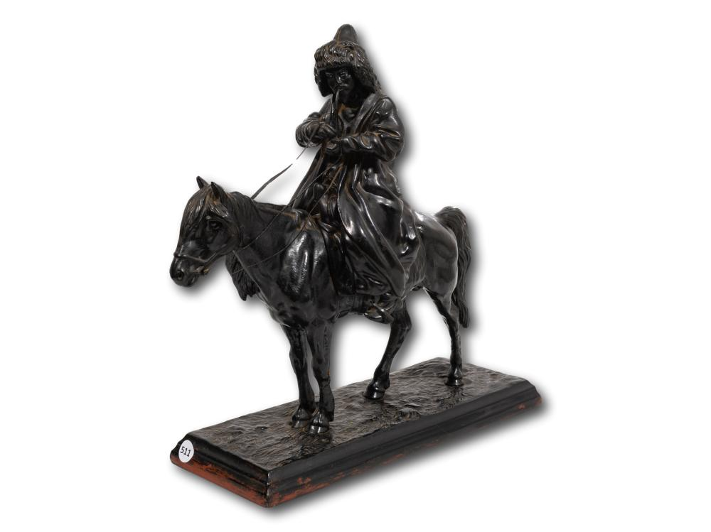 Artemi Ober (Russian 1843 - 1917) Cast Iron, Kirghiz with Pipe on Horse, Signed & Dated 1872 with Kasli 1902 Foundry Stamp, 38cm x 39cm