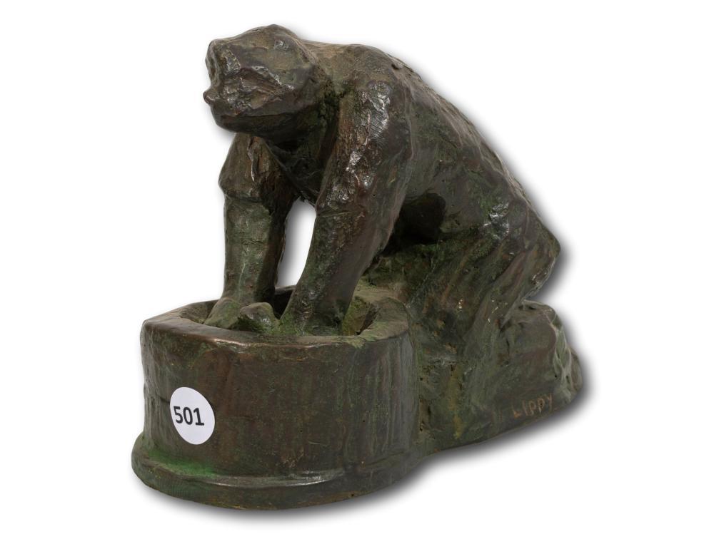 Lippy Lipshitz (SA 1903 - 1980) Bronze, Washer Woman, Signed, 15 x 20