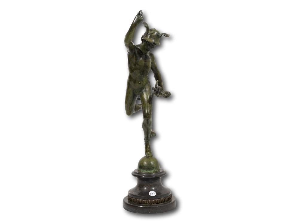 After Giambologna (French C.1529 - 1608) Bronze, Hermes, Signed, 43cm Including Base
