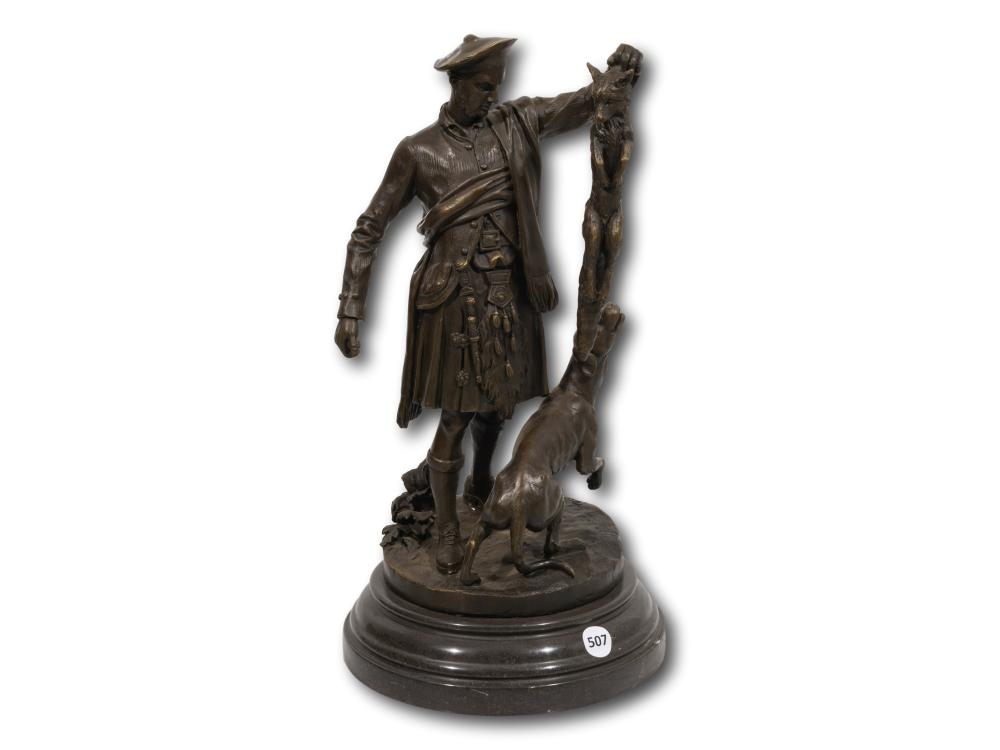 After Pierre Jules Mene (French 1810 - 1879) Bronze, Scottish Hunter with a Dog and a Fox, Signed, 39cm including base