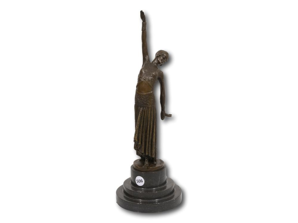 After Dimitri H. Chiparus (Romanian 1886 - 1947) Bronze, An Art Deco Style Dancer in a Coin Dress, Signed, 37cm including base