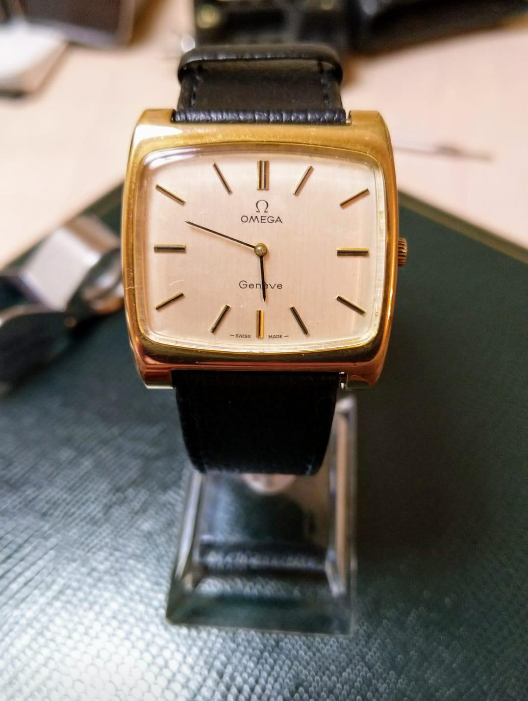 A 1971 Omega Geneve TV Dial, Cal.620, Manual Wind, Gold Filled, Signed Crystal, 34mm x 30mm, A/F