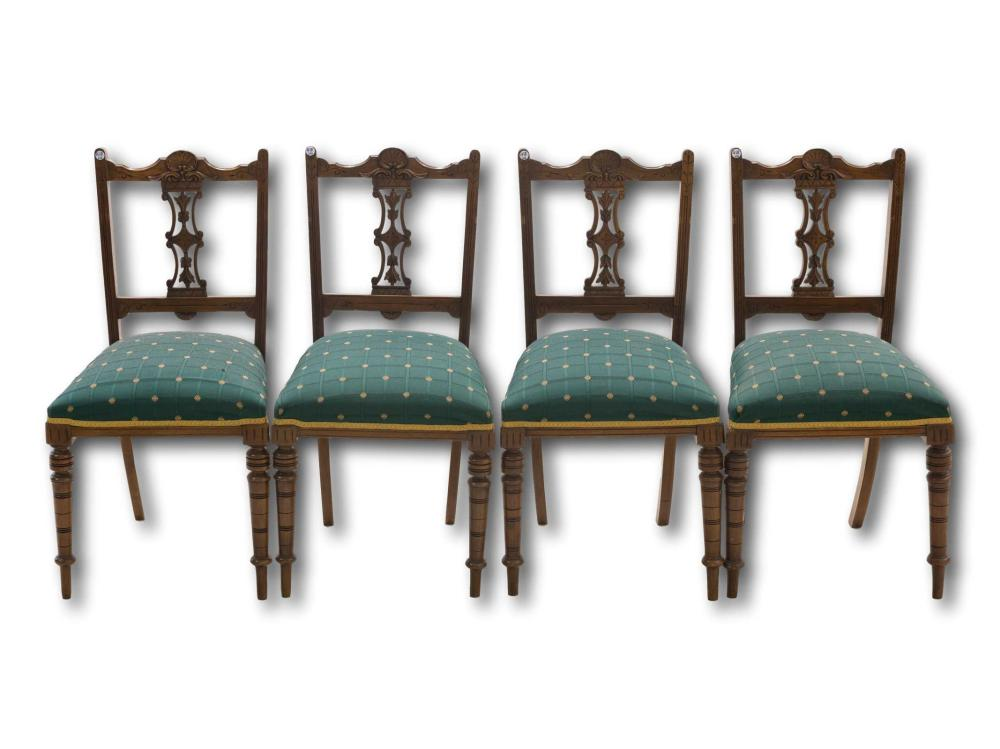 A Set of 4 Late Victorian Mahogany Drawing Room Chairs with Carved Back, 87 x 46 x 47