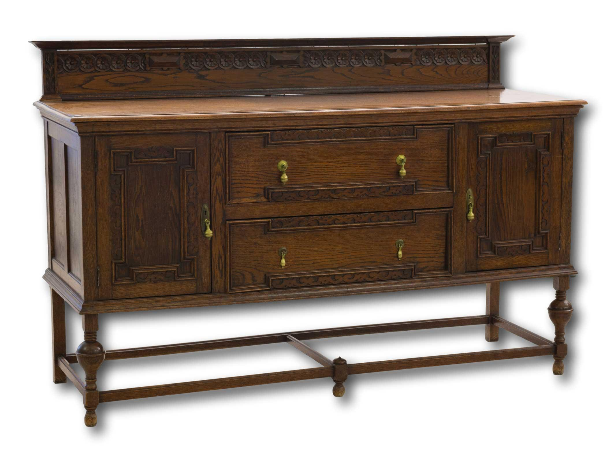 An Early 20th Century Carved Oak Sideboard with Brass Handles, 120 x 185 x 61