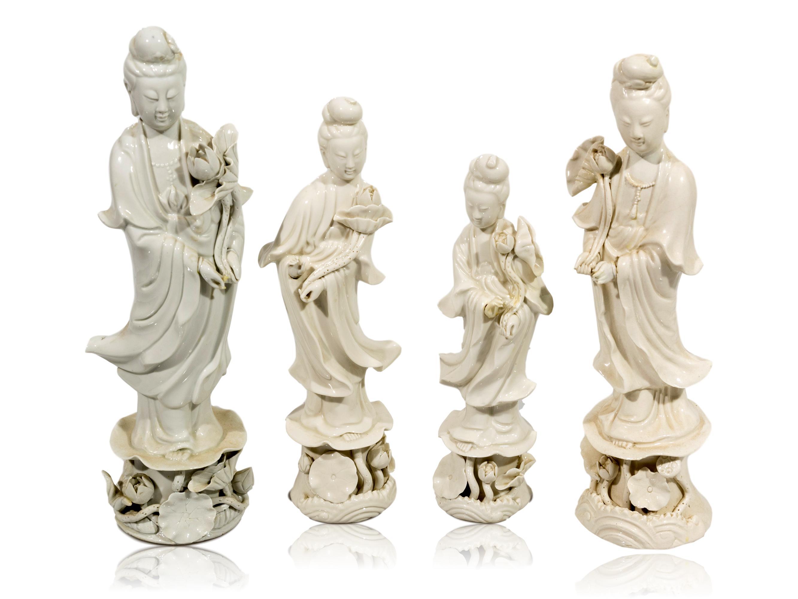 A Set of 4 19th Century Blanc de Chine Porcelain Figurines, 22 - 29cm