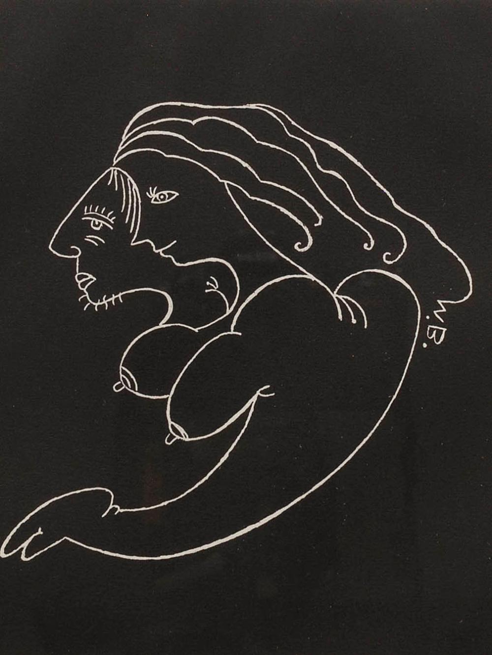 Walter Battiss (SA 1906 - 1982) Linocut, Nude, Signed in Pencil, 31 x 31 sheet size