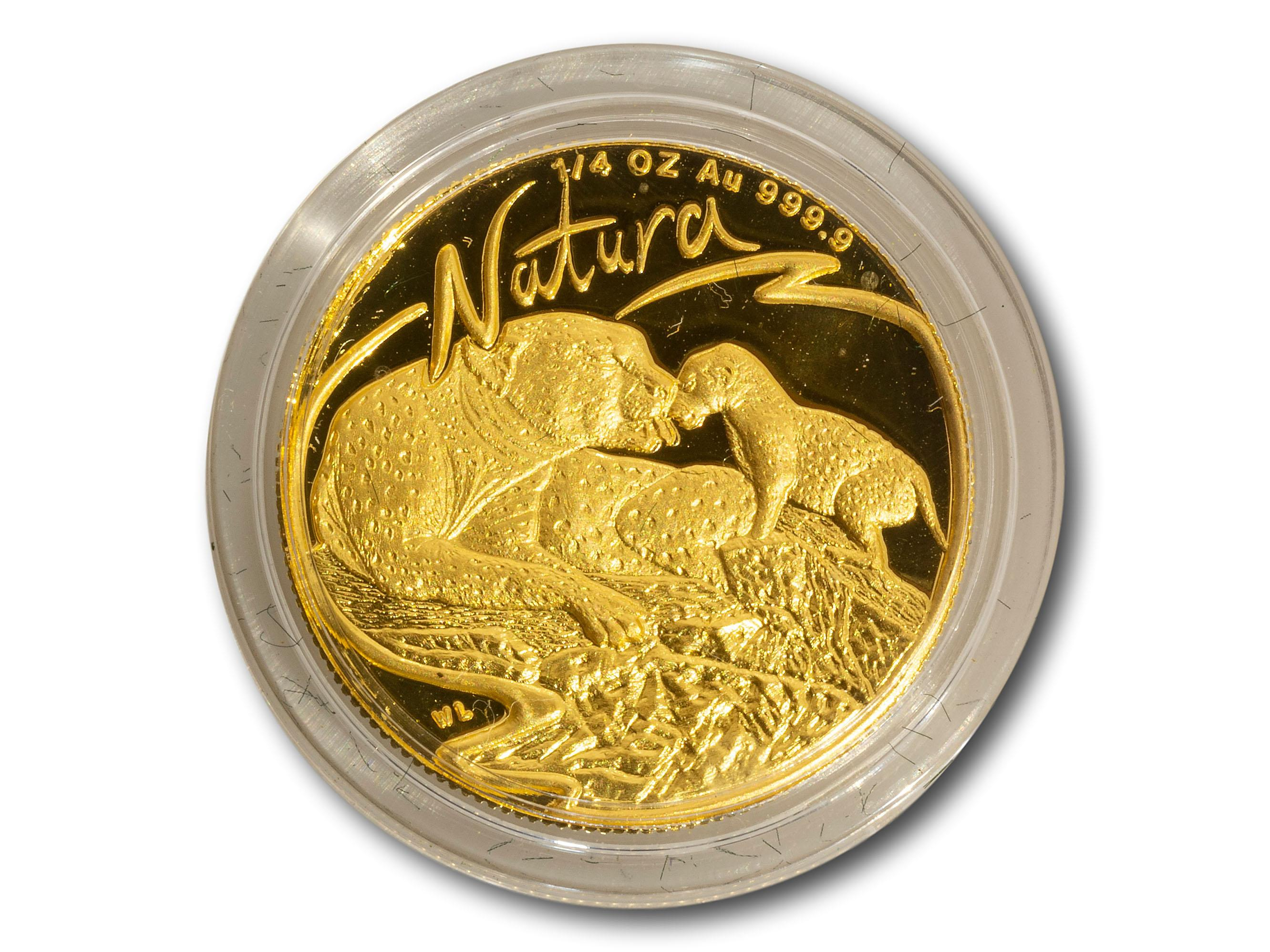 "A SA Mint 'Natura"" 1/4 Oz Leopard Coin, Number 274 of 1500, total weight 7.8g"