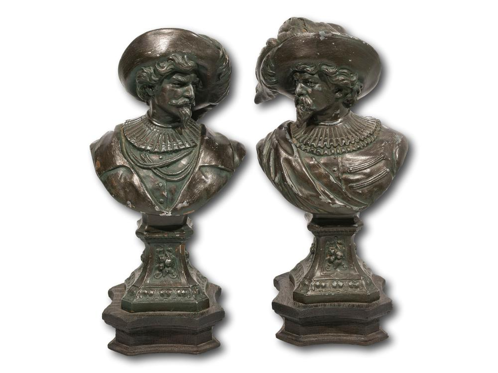 A Pair of Spelter Cavaliers, 29cm each including base