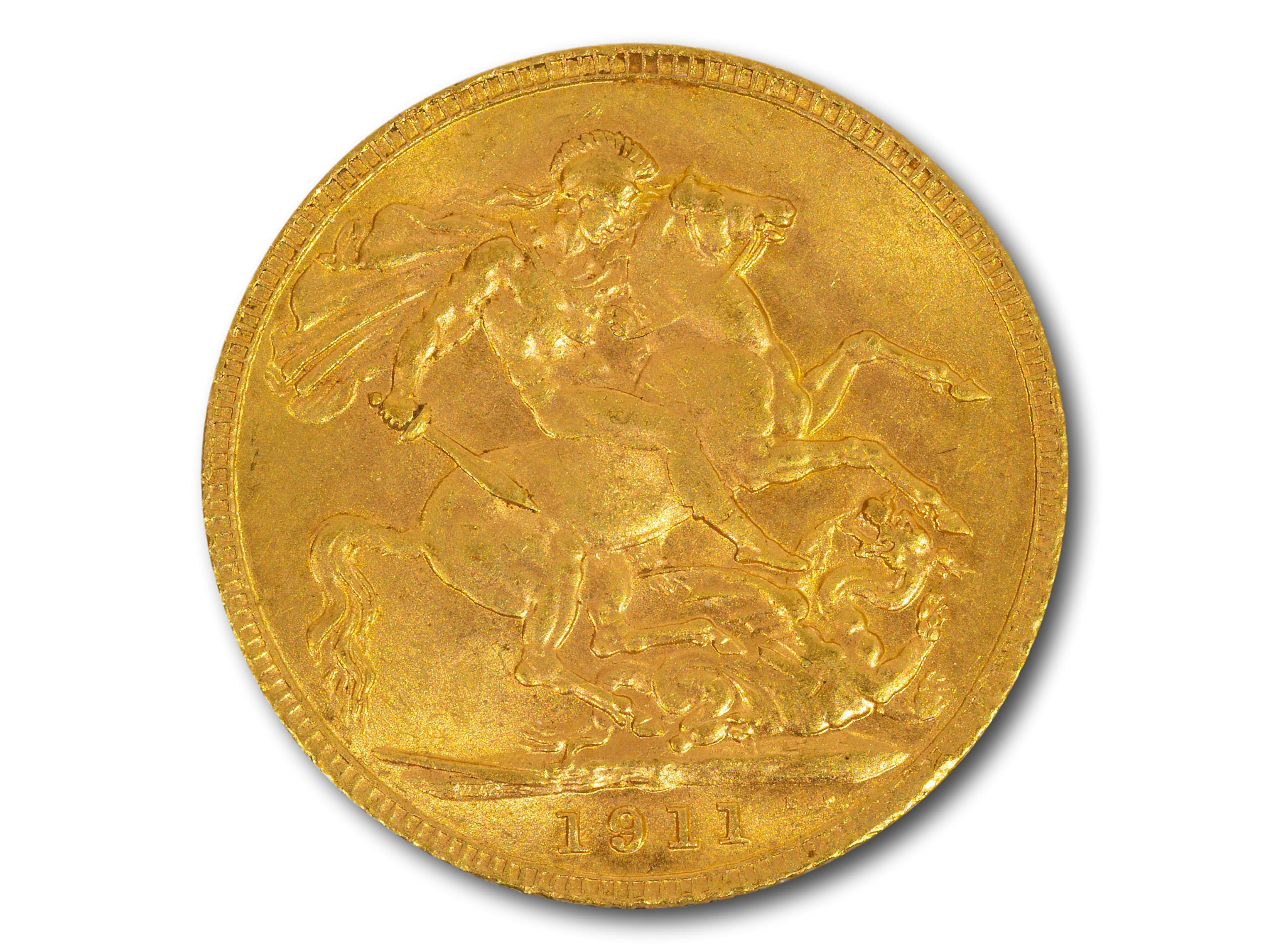 A 1911 George V Gold Sovereign, total weight 8g