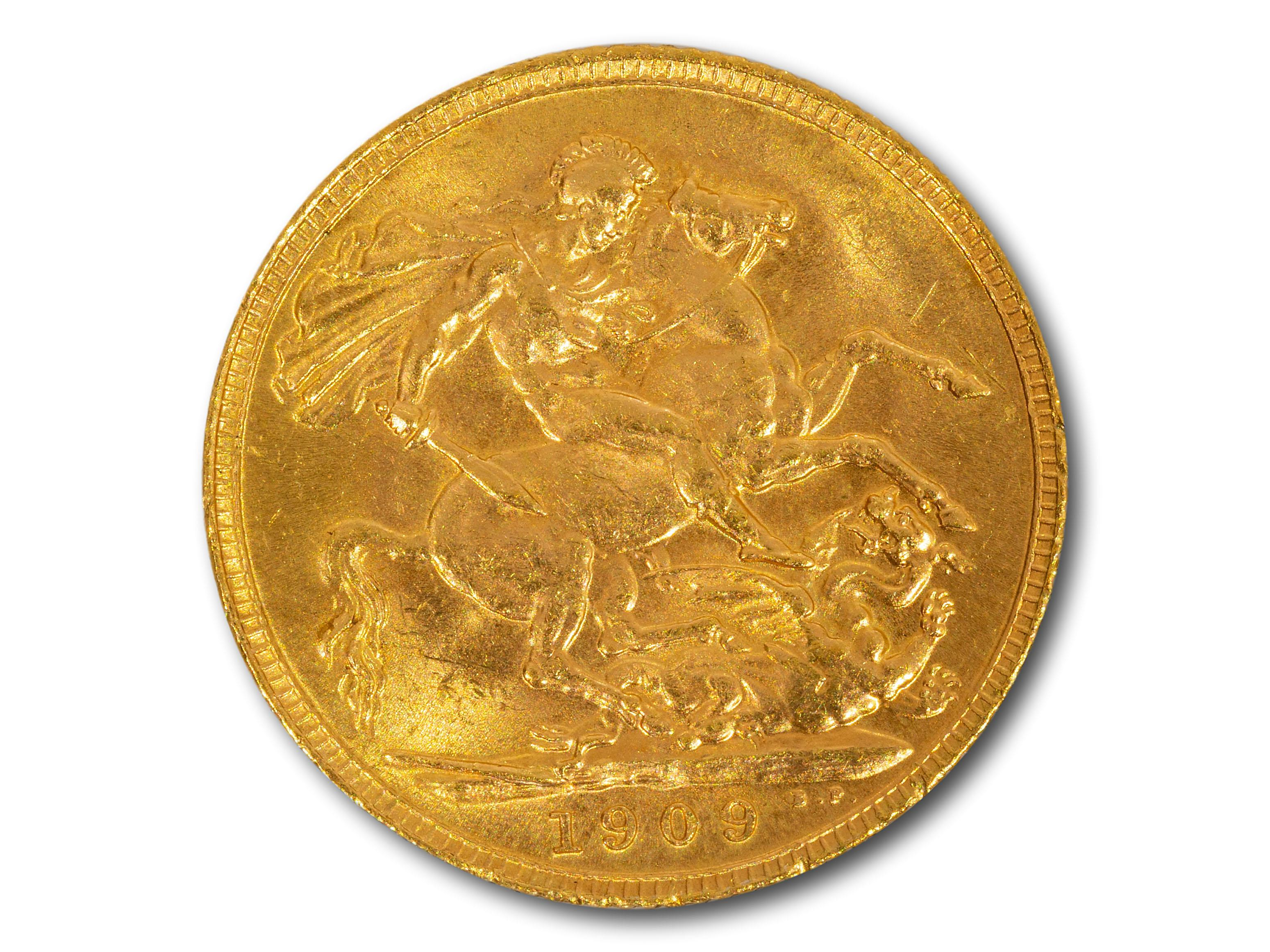 A 1909 Edward VII Gold Sovereign, total weight 8g