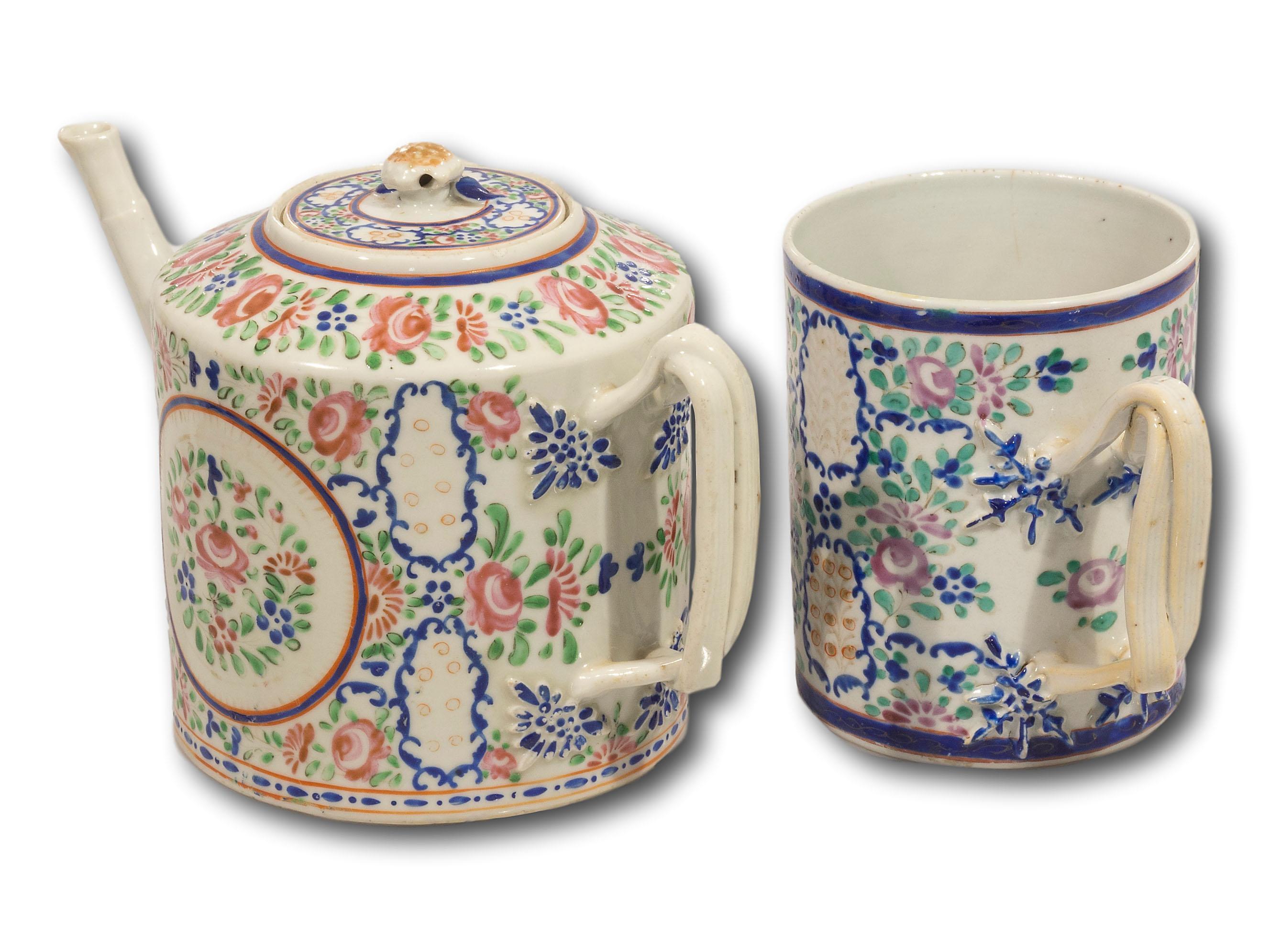 A Chinese Qianlong Teapot & Mug