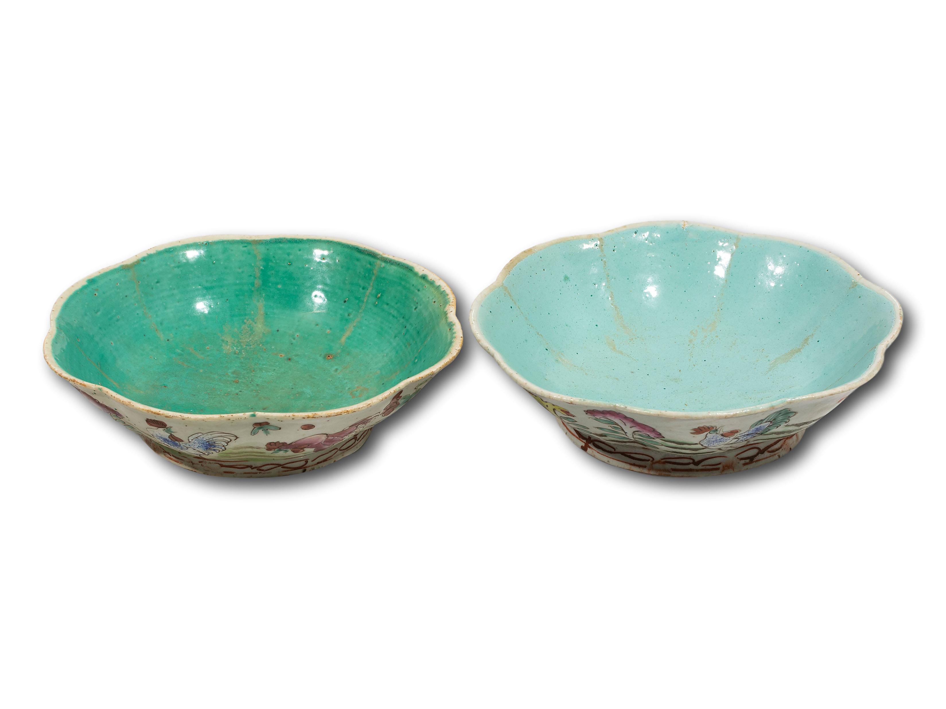 A Pair of Chinese Qianshou Hand Painted Bowls, 22cm diameter each