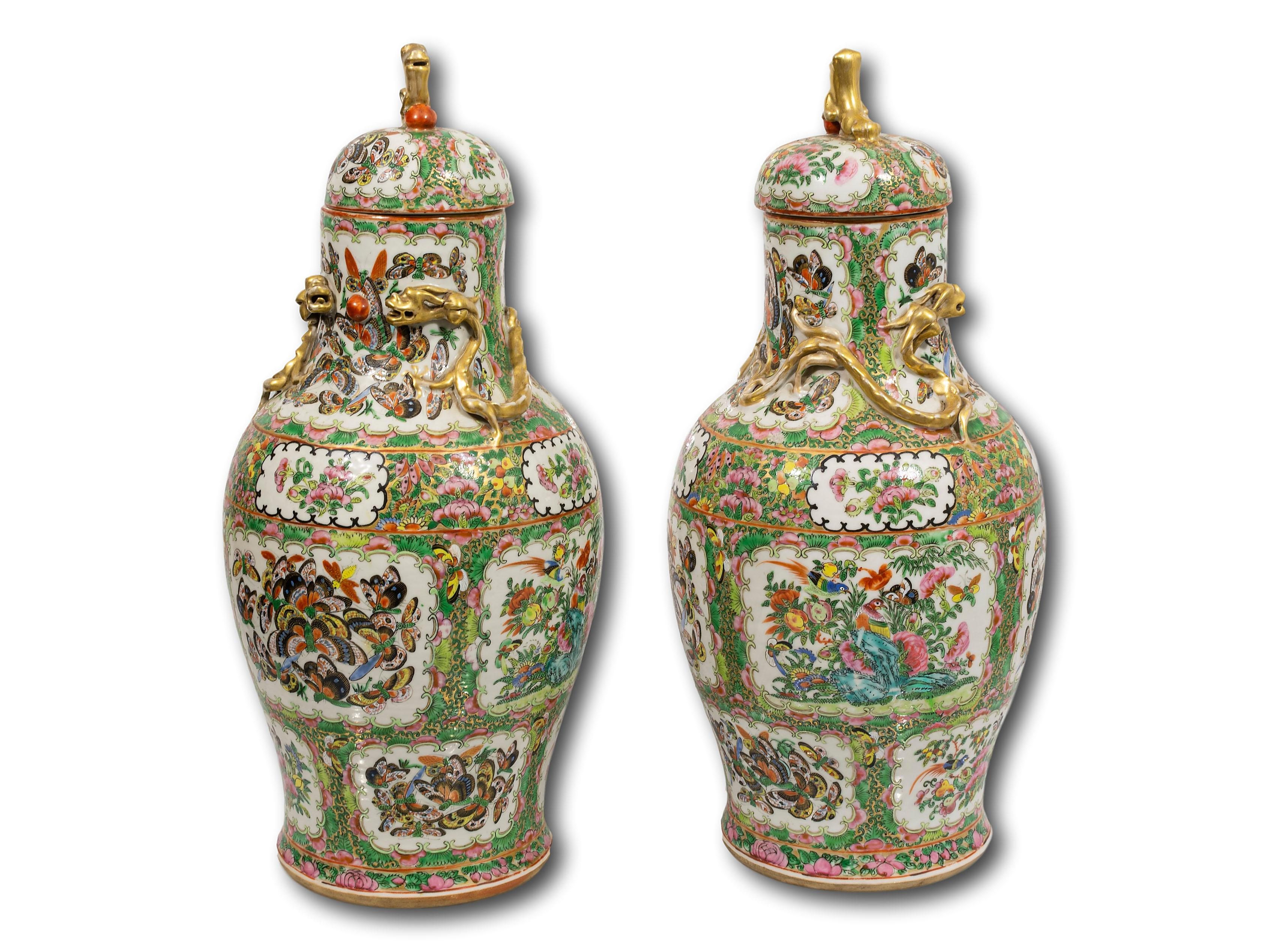 A Pair of Chinese Lidded Vases, 50cm each