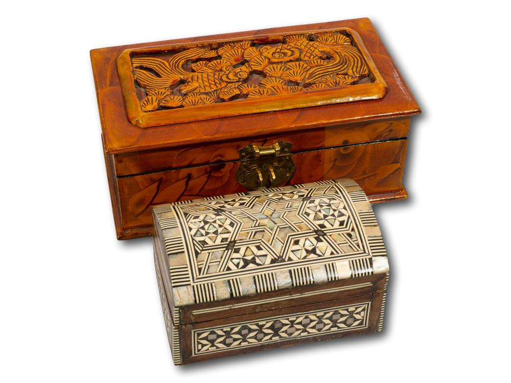 A Chinese Carved Rosewood Jewellery Box and a Jewellery Box with Inlaid Mother of Pearl