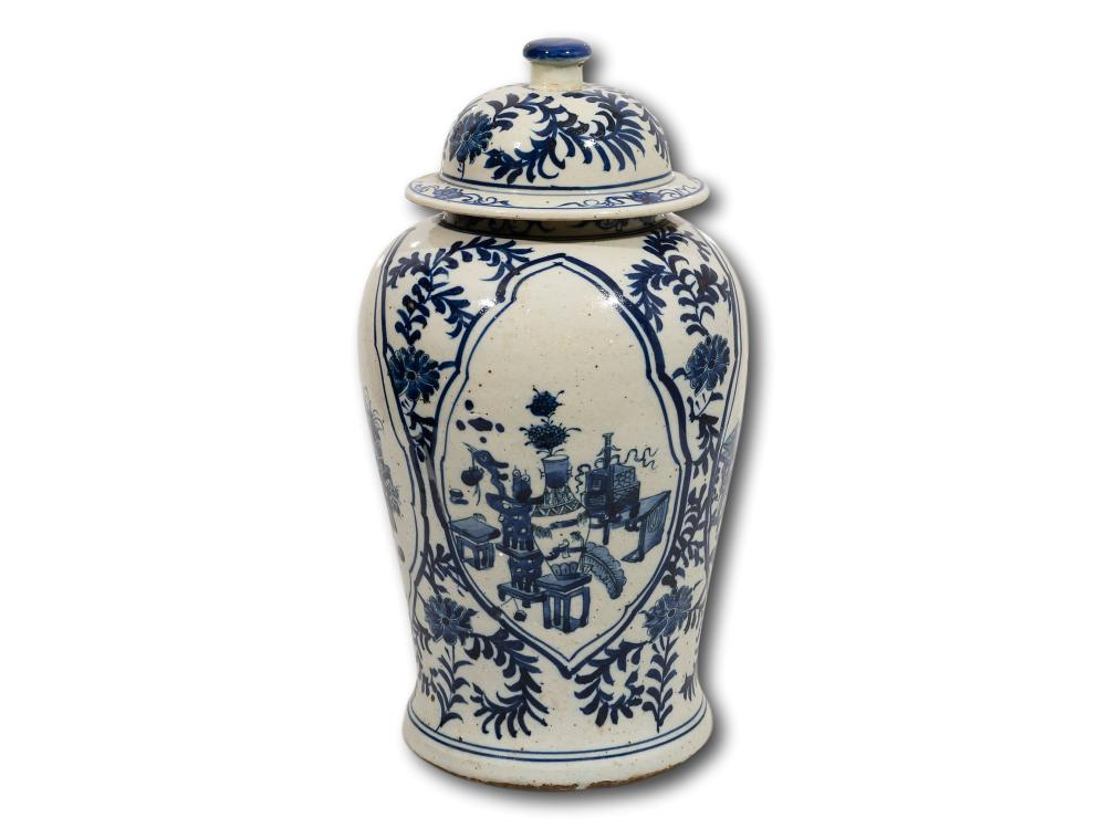 A Chinese Late Ming Design Lidded Ginger Jar, 40cm