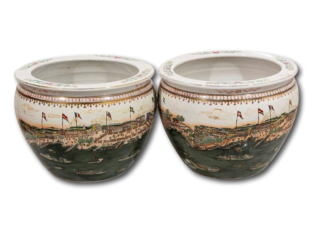 A Pair of Qing Design Pots, 24cm x 34cm diameter each