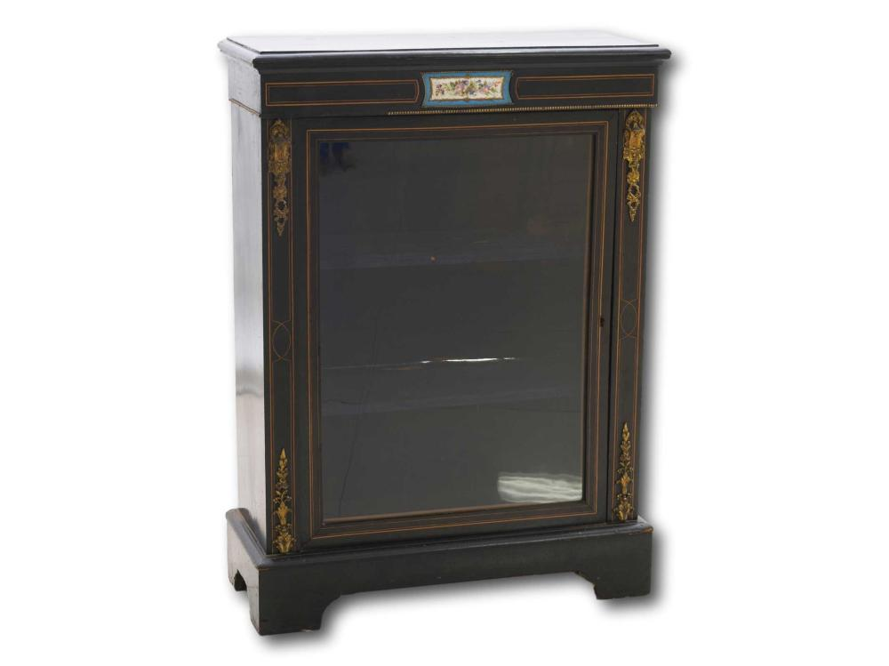 """A Victorian Ebonised Pier Cabinet with Ormolu & Painted Porcelain Decoration, Bears """"London & Stansted Furniture Limited"""" Sticker, 104 x 76 x 31"""