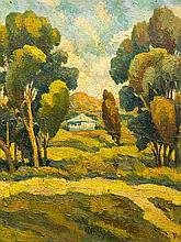 Deszo Koenig (SA 1902 - 1972) Oil, Landscape with Cottage & Trees, Signed, 54 x 57