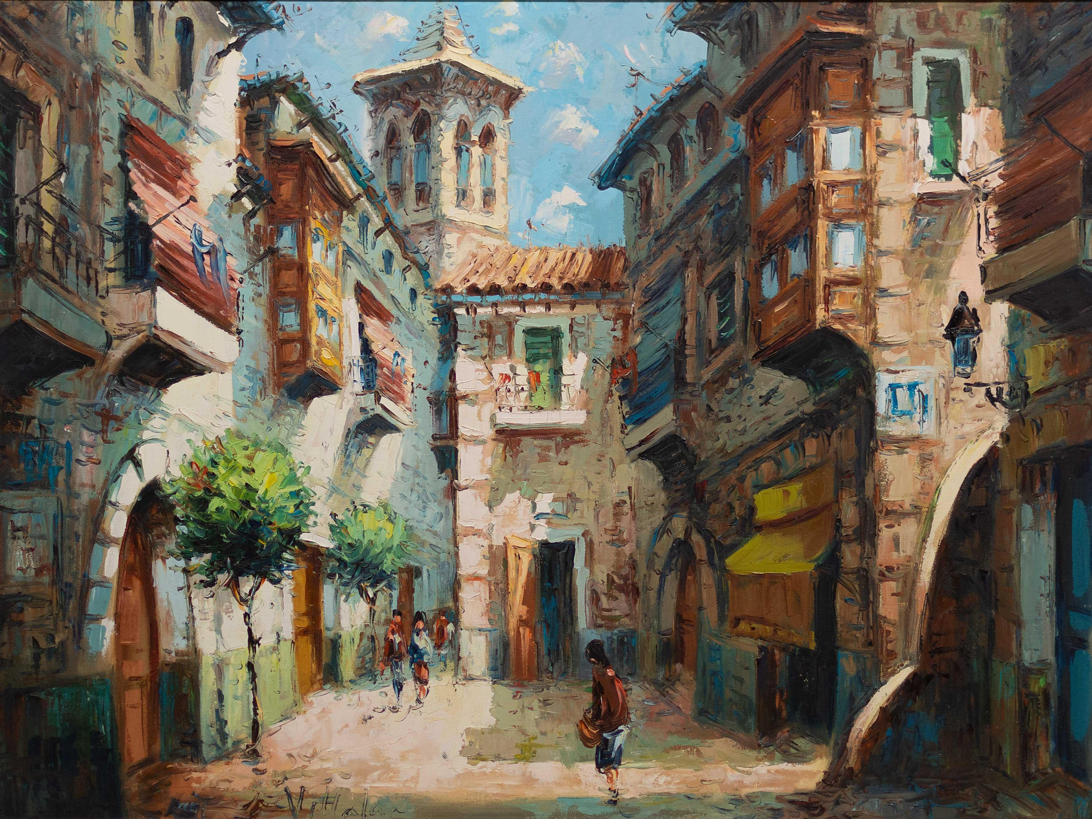 Vit****** (European School 20th Century) Oil, Mediterranean Street Scene, Signed, 64 x 90