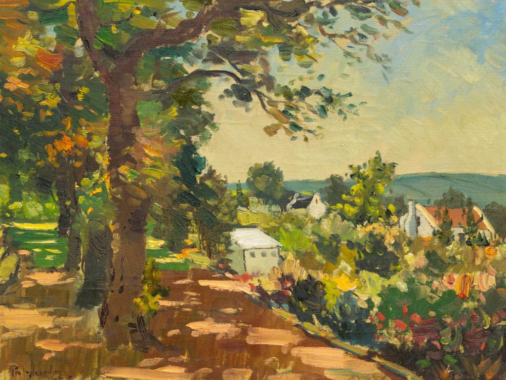 Piet van Heerden (SA 1917 - 1991) Oil, Houses Amongst Trees, Signed, 42 x 56