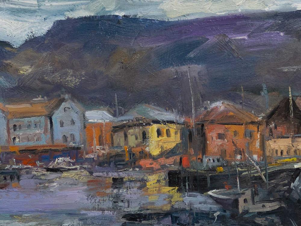 Branko Dimitrov (SA, born 1959) Oil, Cape Town Harbour, Signed, 30 x 82