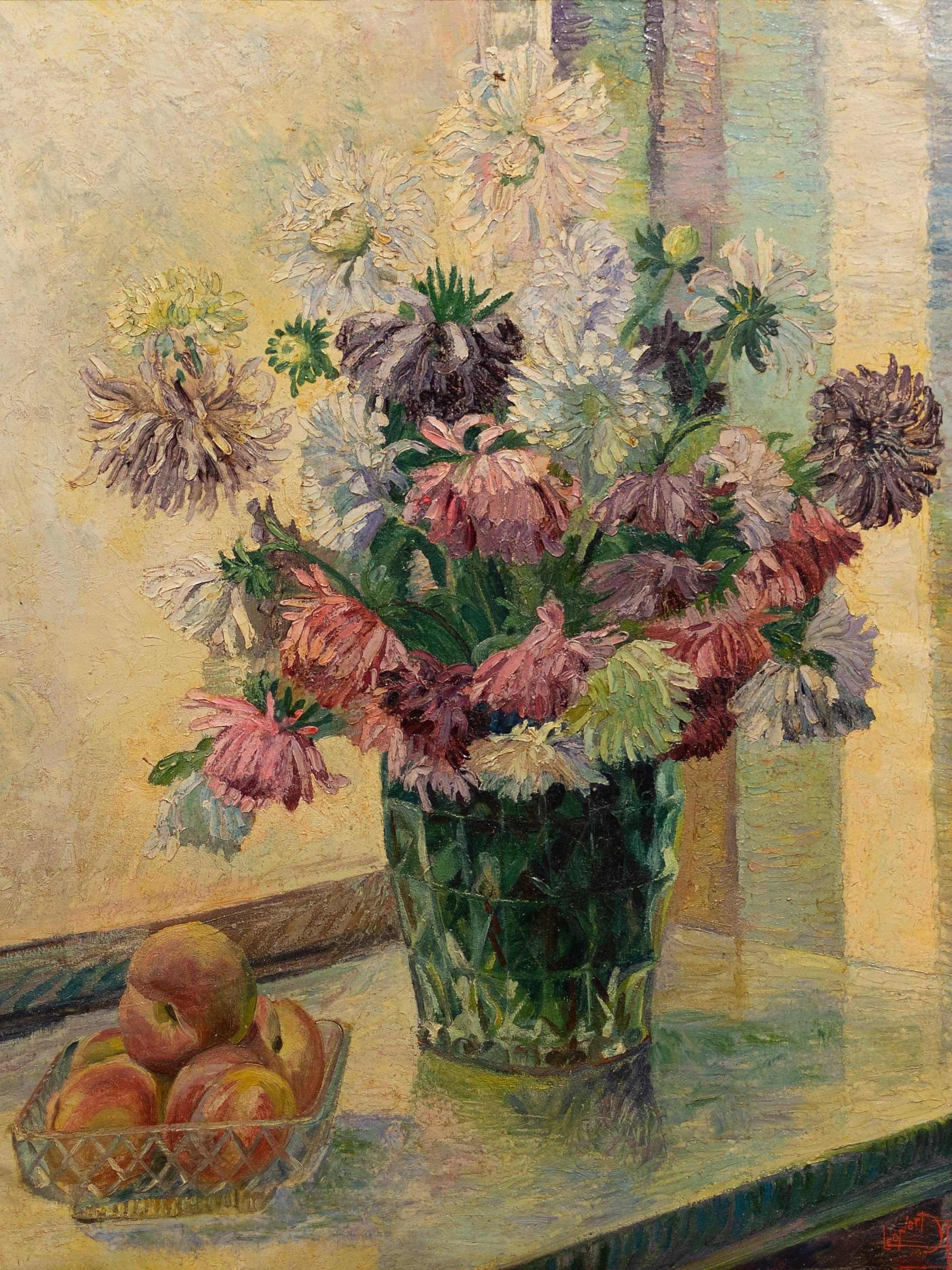 Léonard Pelgrims (Belgian 1894 - 1967) Oil, Still Life Flowers & Fruit, Signed, 60 x 50