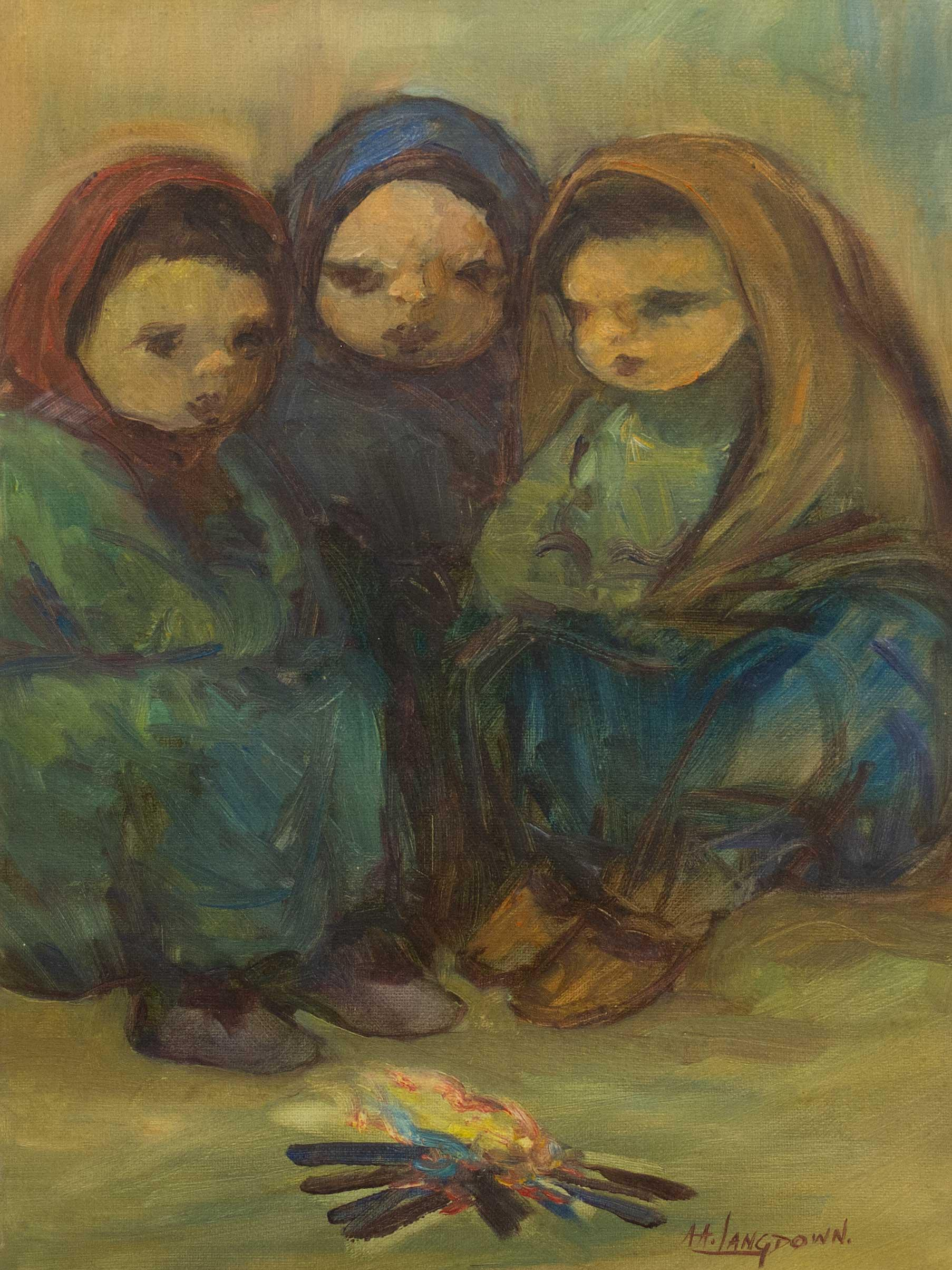 Amos Langdown (SA 1930 - 2006) Oil, Three Women Round a Fire, Signed, 40 x 30