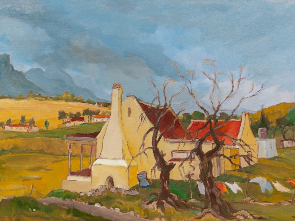 Kobus Louw (SA, born 1933) Oil, Cape Landscape with Cottages, Signed, 60 x 91