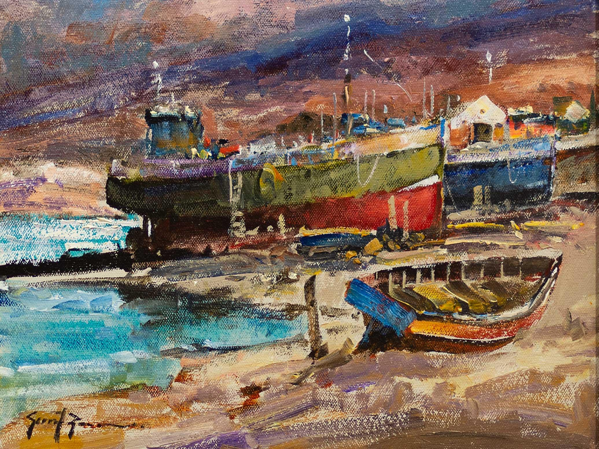 Gerrit Roon (SA 1937 - 2017) Oil, Boats in Dry Dock, Signed, 24 x 30