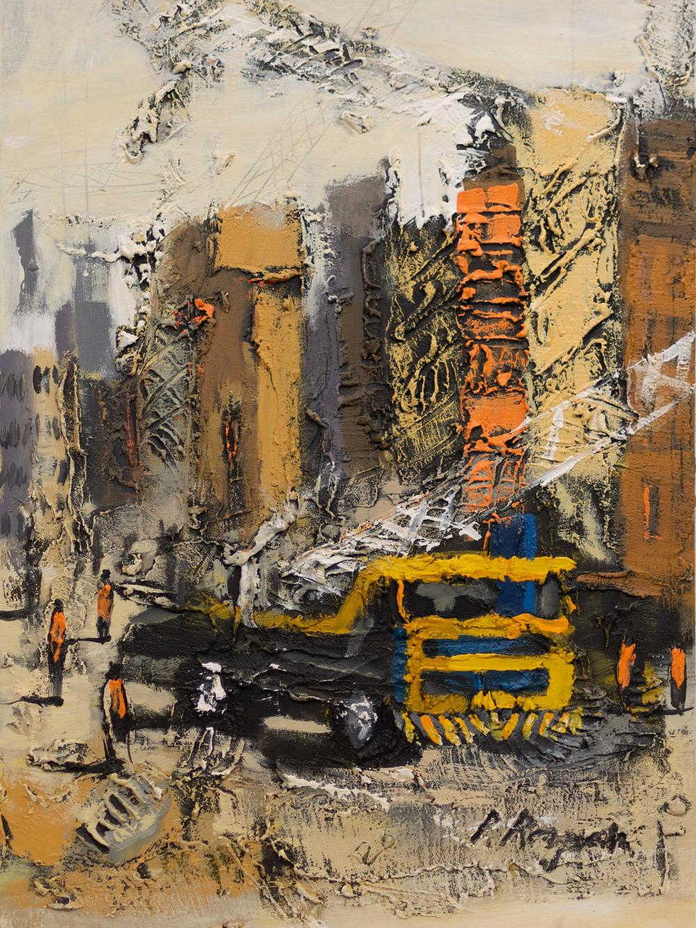 Patrick Rapai (Zimbabwean, Born 1976) Oil, Abstract City Scene, Signed, 76 x 51 unframed