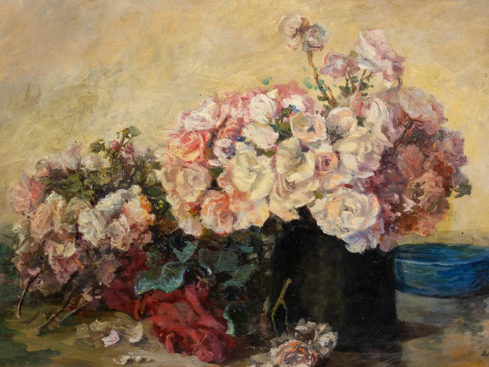 Beatrice Hazell (SA 1864 - 1946) Oil, Still Life Roses, Signed, 33 x 48