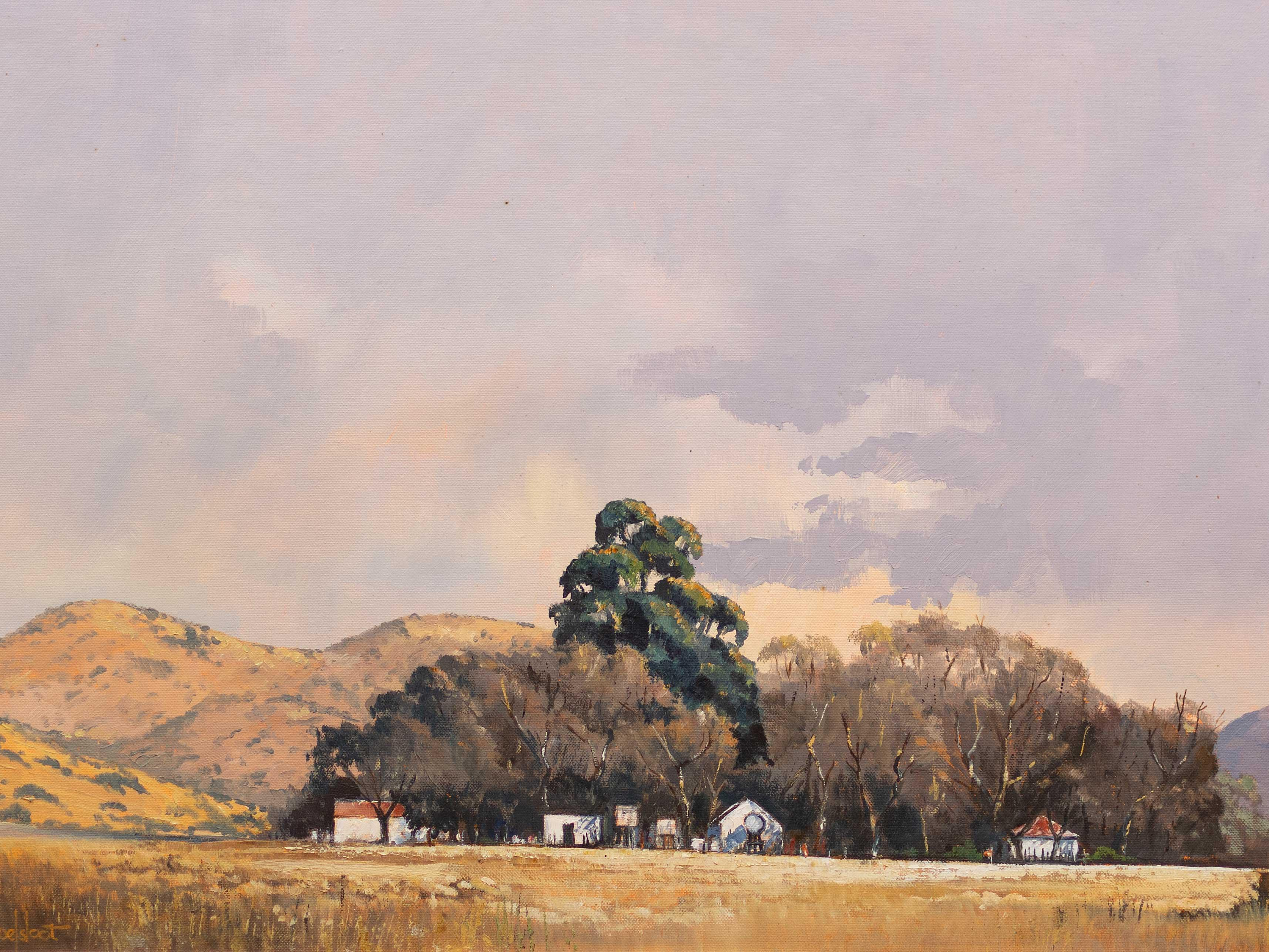 "Ted Hoefsloot (SA, born 1930) Oil, ""Farm Scene Broederstoom"", Signed Titled Verso, 50 x 75"