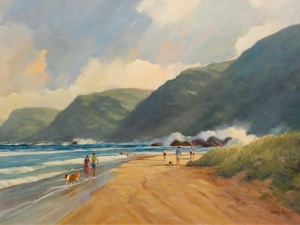 Marge Maggs (SA, born 1940) Oil, Beachscape with Figures, Signed, 60 x 90