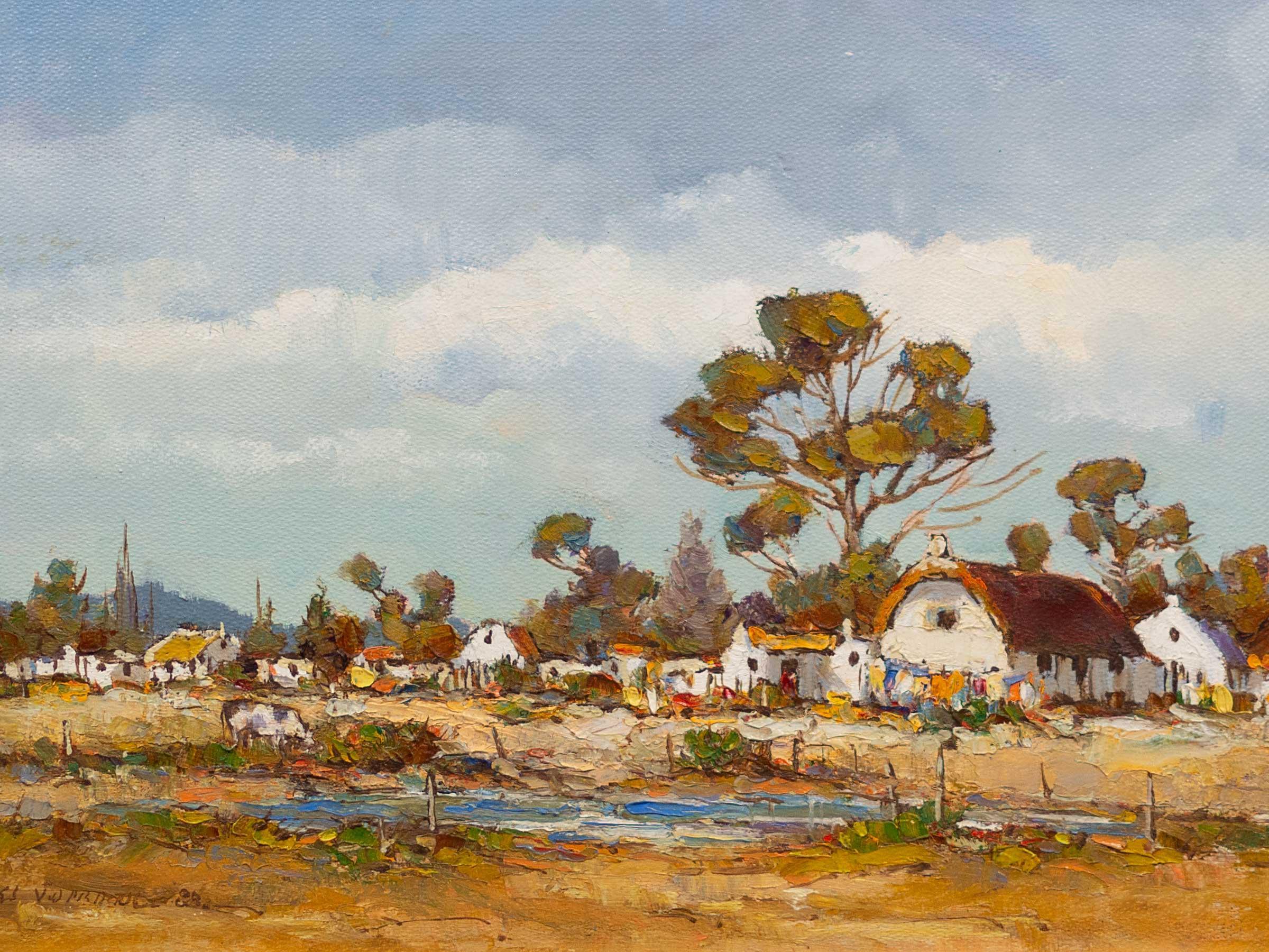 Charles van der Merwe (SA 1938 - 1996) Oil, Cape Dutch Cottages, Signed & Dated '88, 25 x 35