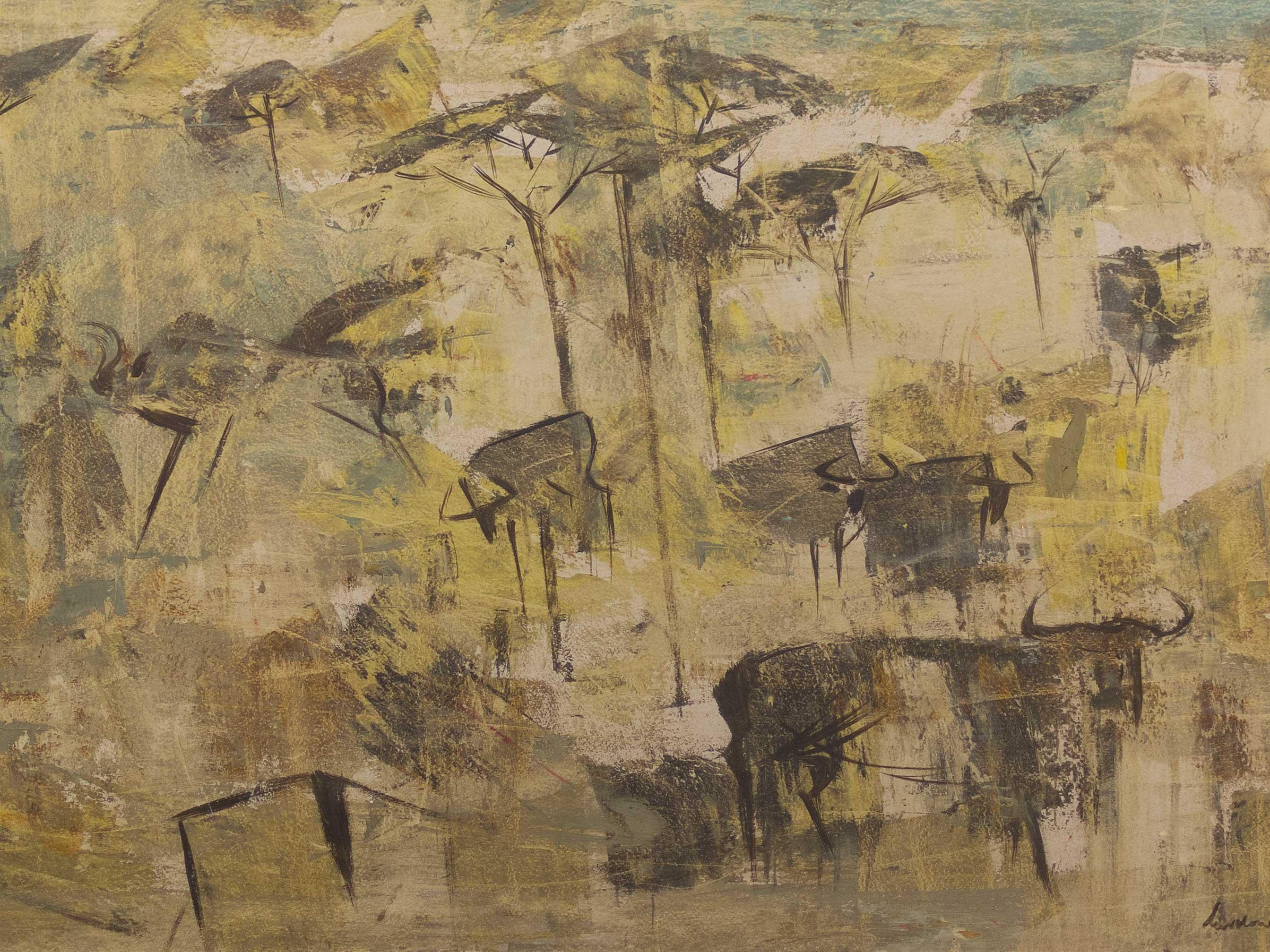 Gordon Vorster (SA 1924 - 1988) Oil, Wildebeest, Signed, 42 x 66