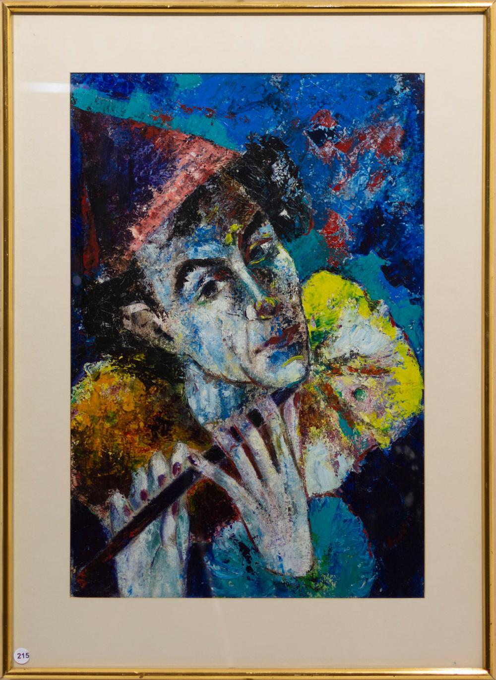 Marguerite Acarin Akarova (Belgian 1904 - 1999) Oil, Clown Playing a Flute, Signed, 65 x 44