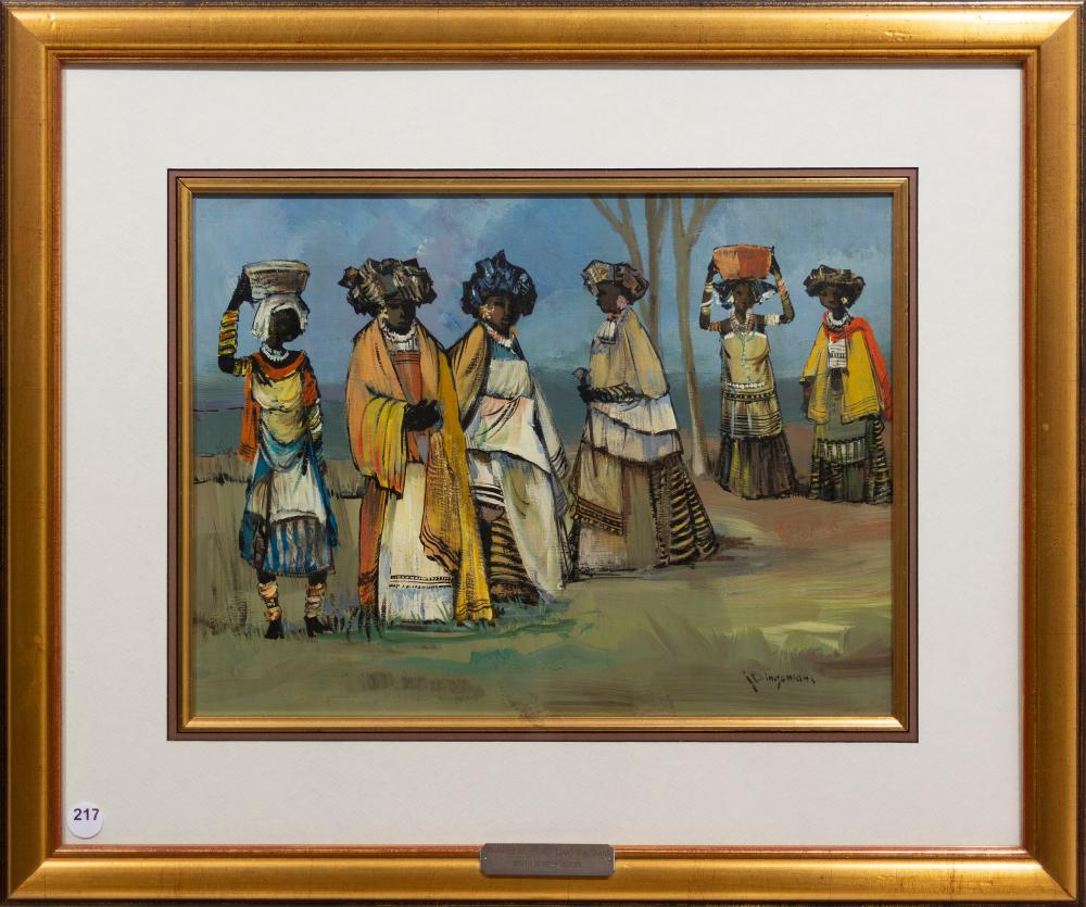 Jan Dingemans (SA 1921 - 2001) Oil, Xhosa Women, Signed, 30 x 40