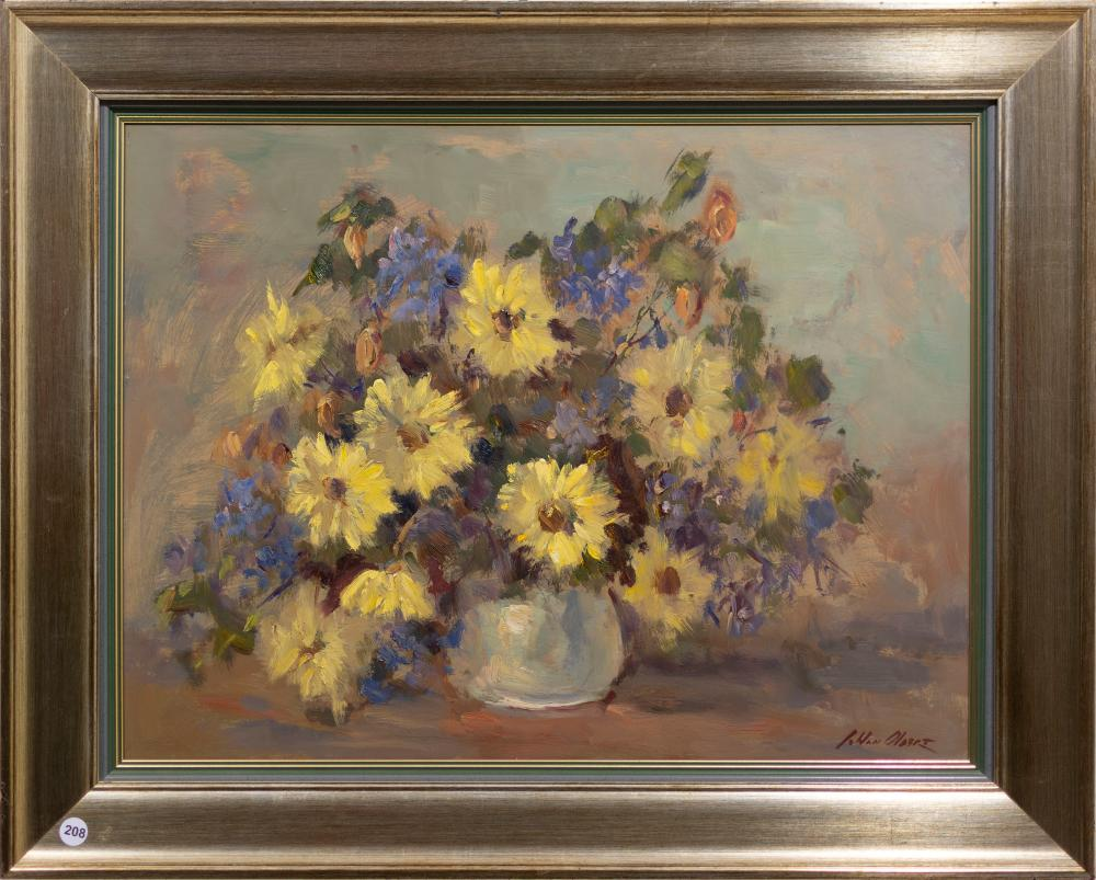 Johan Oldert (SA 1912 - 1984) Oil, Still Life Flowers, Signed, 45 x 60