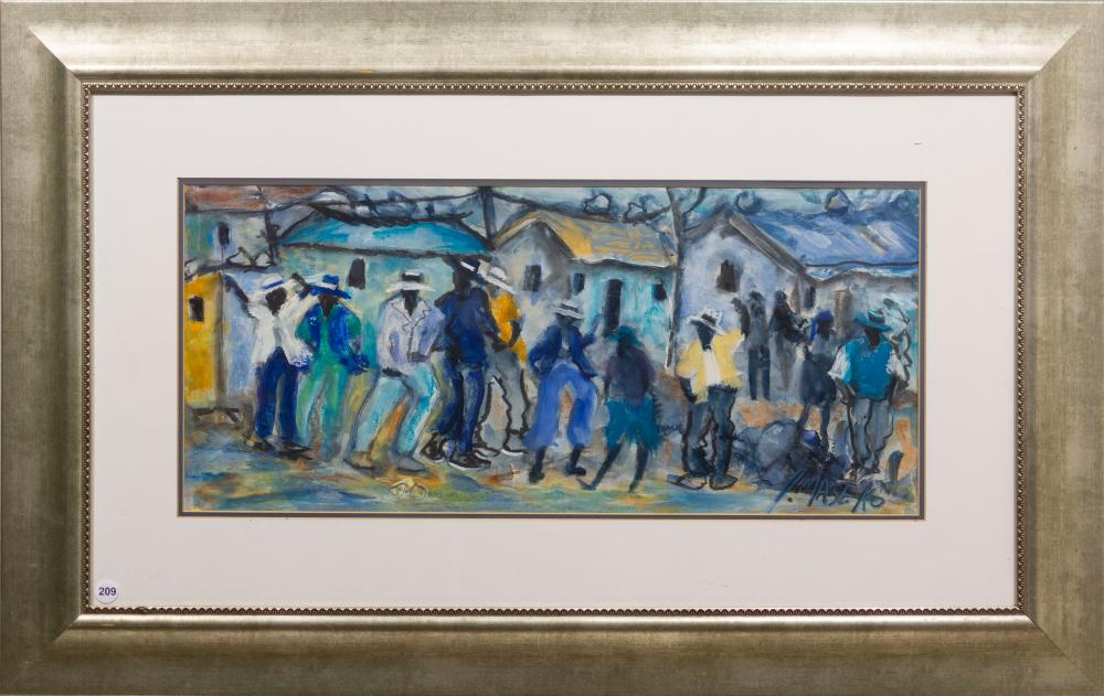 Joe Maseko (SA 1940 - 2008) Mixed Media, Township Scene, Signed, 28 x 62