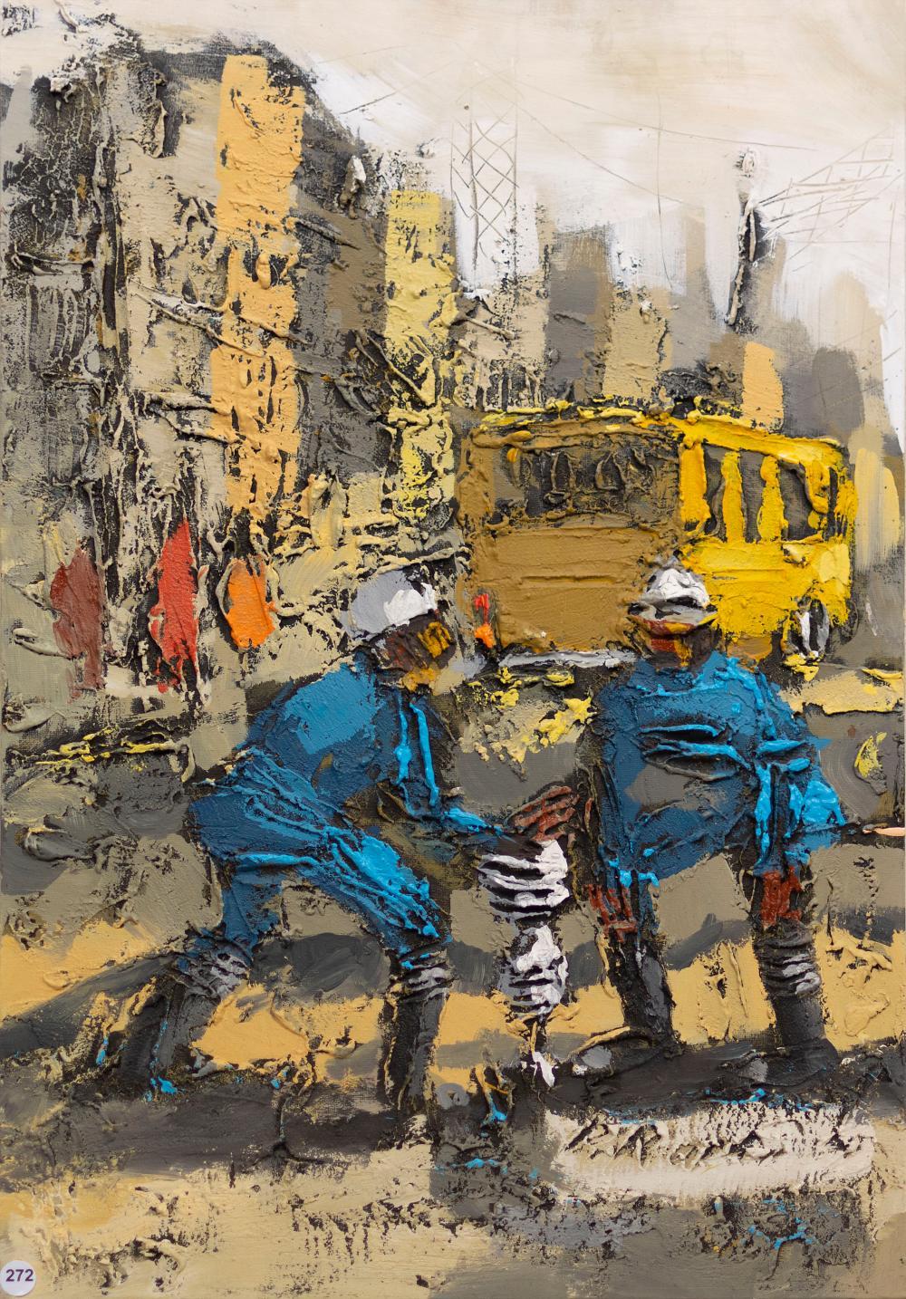 Patrick Rapai (Zimbabwean, Born 1976) Oil, Roadworks, Signed, 76 x 51 unframed
