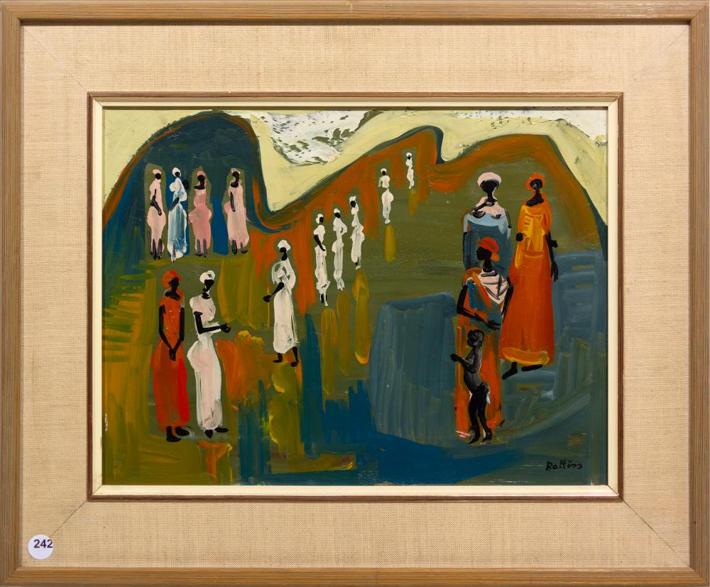 Walter Battiss (SA 1906 - 1982) Oil, Congolese Figures, Signed, 30 x 40