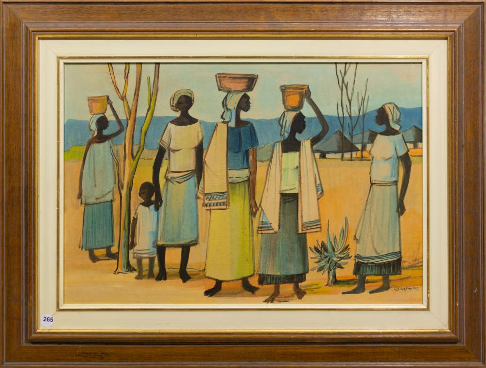 Jan Dingemans (SA 1921 - 2001) Pastel, Congolese Women, Signed, 37 x 55