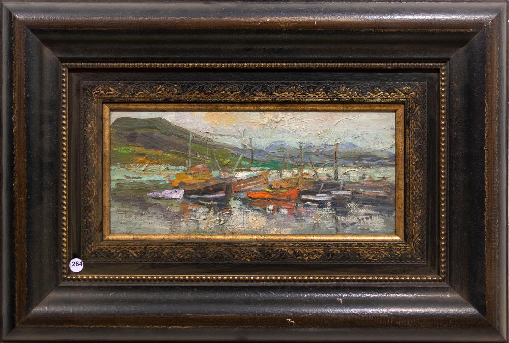 Branko Dimitrov (SA, born 1959) Oil, Fishing Boats, Signed, 18 x 41