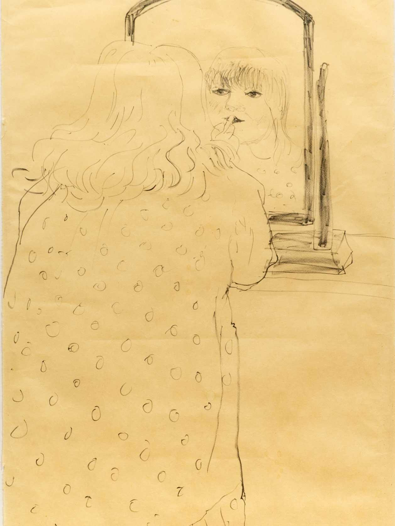 """David Hockney OM, CH, RA (English, born 1937) Lithograph on Japanese Okawara paper, """"Ann Putting On Lipstick"""", Signed Dated '79 & Numbered 55/75, 116 x 42 Sheet Size"""