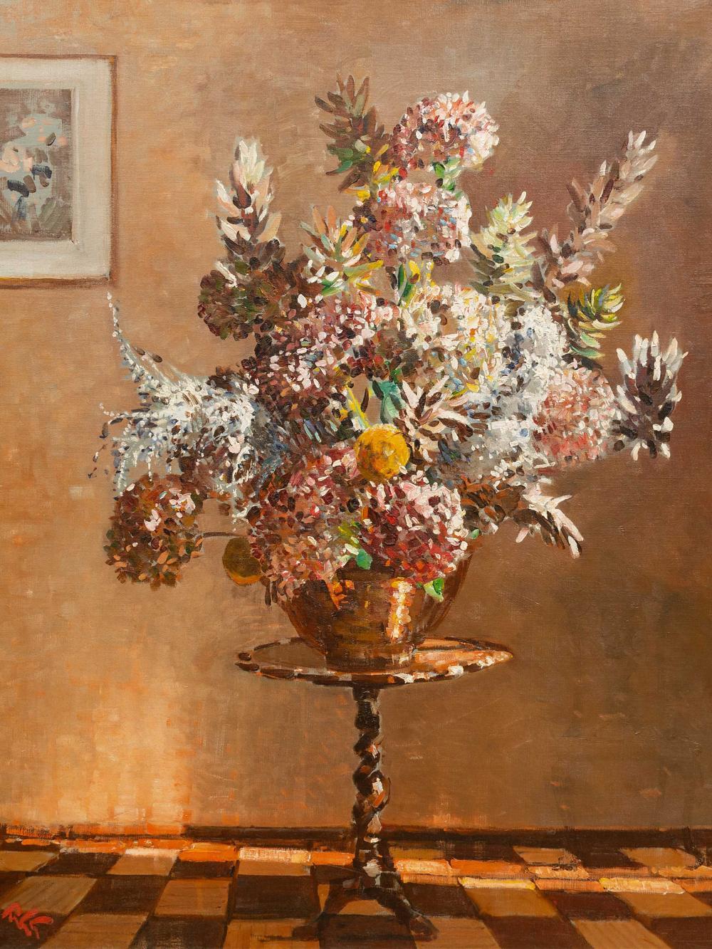 Robert Gwelo Goodman (SA 1871 - 1939) Oil, Still Life Flowers on a Table, Signed, 92 x 75