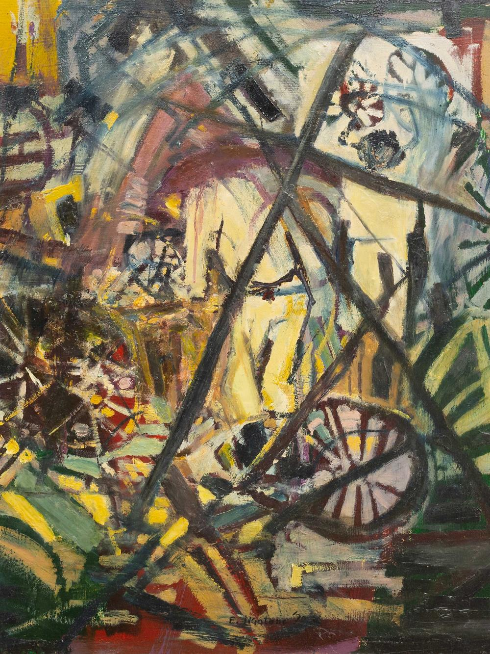 "Ephraim Ngatane (SA 1938 - 1971) Oil, ""Bicycle Shop"", Signed & Dated '70, 75 x 60"