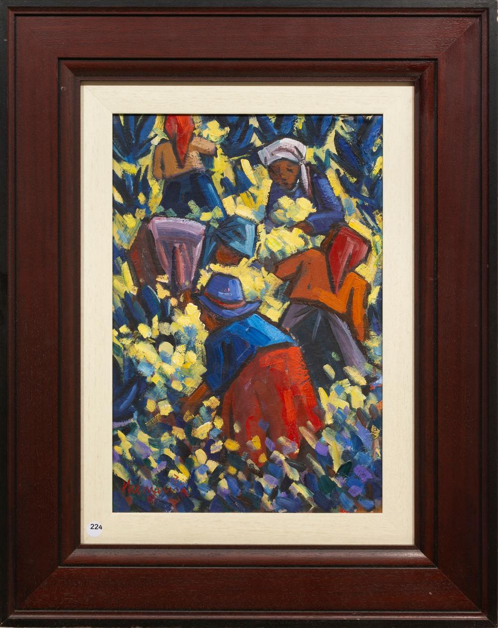 Hennie Niemann (SA, born 1941) Oil, Fynbos Pluckers, Signed & Dated '13, 50 x 34